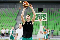 Rado Trifunovic watching Gezim Morina during public training session of Slovenian National Basketball team, on August 1, 2016 in Arena Stozice, Ljubljana, Slovenia. Photo by Vid Ponikvar / Sportida