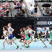 Competitors in action in the Youth Boys' Mile during the Diamond League Adidas Grand Prix at Icahn Stadium, Randall's Island, Manhattan, New York, USA. 14th June 2014. Photo Tim Clayton