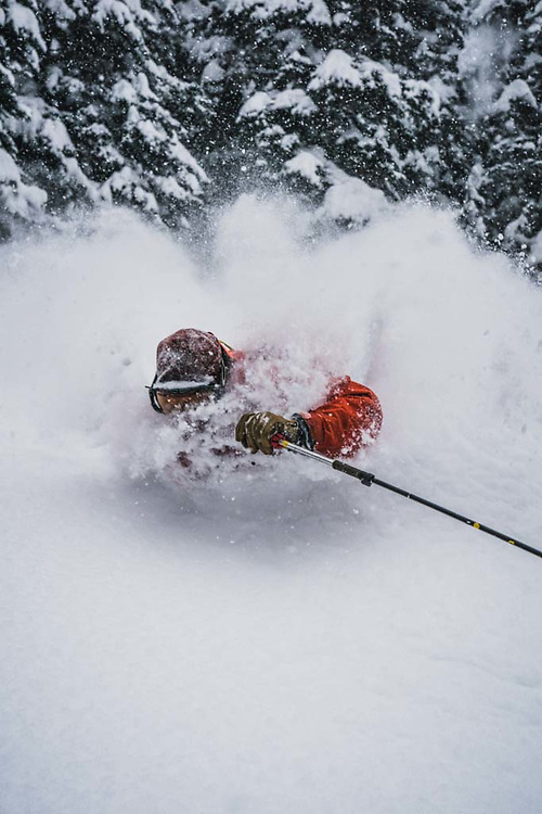 Overnight totals were 20cm's and it continued to dump throughout the day, Sean Fraser takes it any which way, Burnie Glacier, British Columbia.