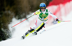 "Bernadette Schild (AUT) in action during 1st Run of the FIS Alpine Ski World Cup 2017/18 7th Ladies' Slalom race named ""Golden Fox 2018"", on January 7, 2018 in Podkoren, Kranjska Gora, Slovenia. Photo by Ziga Zupan / Sportida"