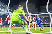 Goal Chelsea defender César Azpilicueta (28) scores a goal 2-1 during the Premier League match between Chelsea and Arsenal at Stamford Bridge, London, England on 21 January 2020.