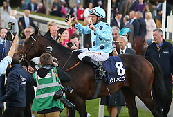 Almanzor's jockey Christophe Soumillon in the parade ring after winning The QIPCO Irish Champion Stakes during day one of the Longines Irish Champions Weekend at Leopardstown Races.