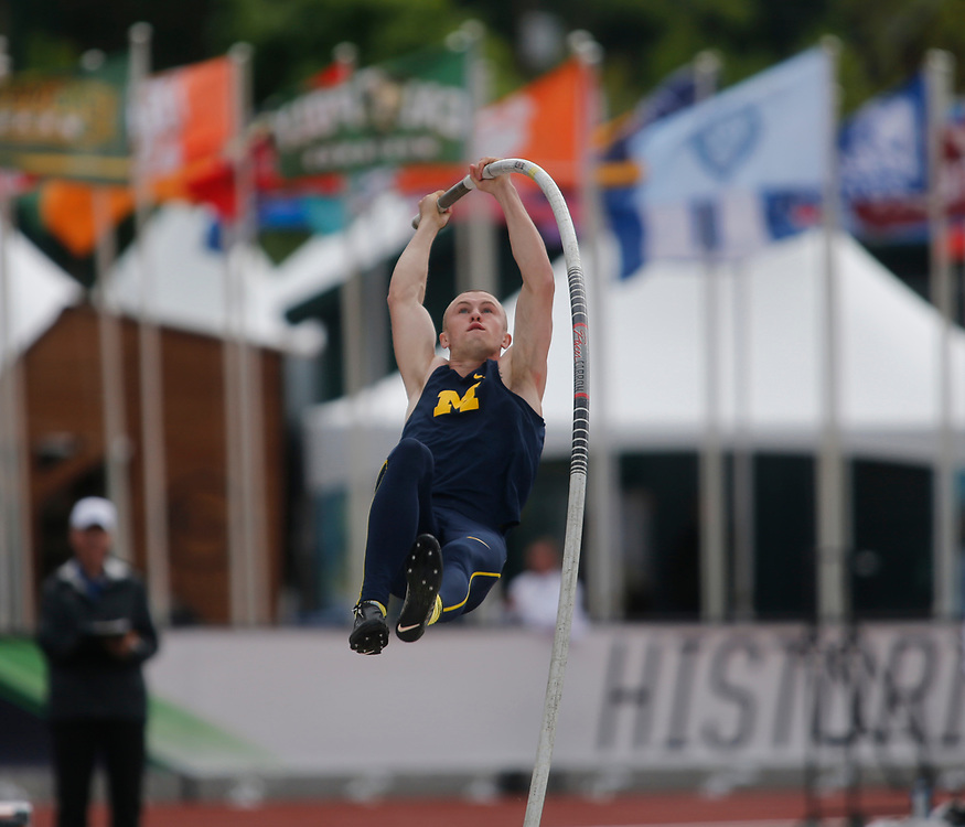 Michigan's Steven Bastien competes in pole vault during the men's decathlon the second day of the NCAA outdoors college track and field championships in Eugene, Ore., Thursday, June 8, 2017. (AP Photo/Timothy J. Gonzalez)