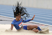 Jul 28, 2019; Des Moines, IA, USA; Erica Bougard jumps a wind-aided 21-5 1/4 (6.53m) in the heptathlon long jump during the USATF Championships at Drake Stadium. Bougard was the overall winner with 6,663 points.
