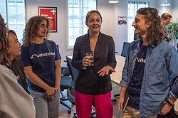 © Licensed to London News Pictures. 11/11/2019. London, UK. London Mayoral candidate, Siobhan Benita talks with apprentices during a visit to 'WhiteHat', a tech start-up founded to help people access apprenticeships. Siobhan Benita is joined by Liberal Democrat Shadow Business, Energy and Industrial Strategy Secretary Sam Gyimah, to discuss the party's plans for the creation of an ambitious Skills Wallet which gives every adult £10,000 to spend on education and training throughout their lives. Photo credit: Peter Manning/LNP