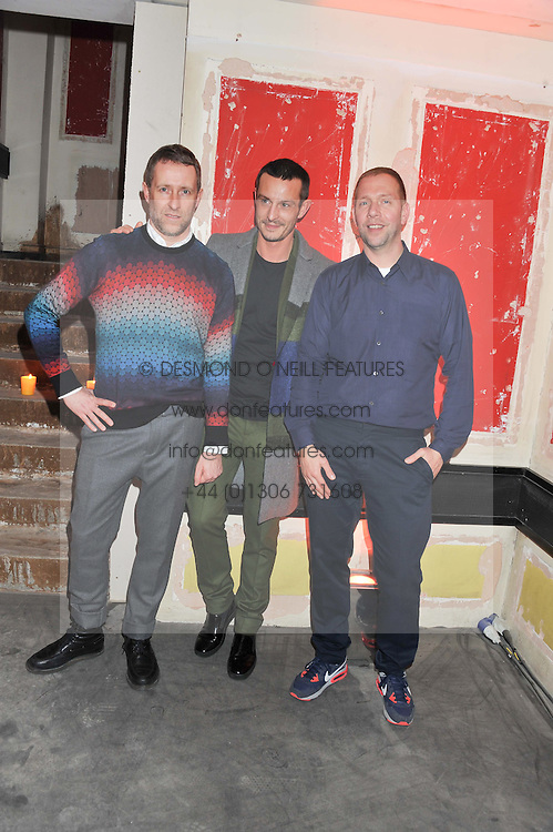 Left to right, GERT JONKERS, JONATHAN SAUNDERS and JAP VAN BENNEKOM at a dinner hosted by Jonathan Saunders, Fantastic Man & Selfridges to celebrate Jonathan Saunders AW13 Menswear collection and London Collections held at the Old Selfridges Hotel,  Orchard Street, London on 8th January 2013.