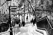 Paris, France. December 17th 2009..Snow Storm in Paris..Rue Maurice Utrillo (18th arrondissement)