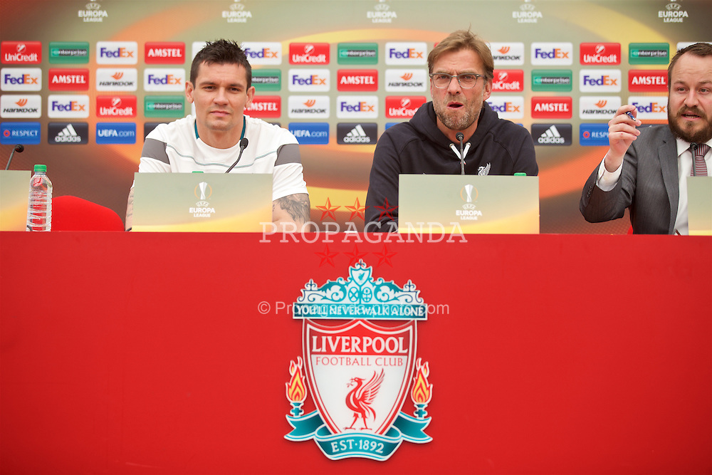 LIVERPOOL, ENGLAND - Wednesday, May 4, 2016: Liverpool's Dejan Lovren and manager Jürgen Klopp during a press conference at Melwood Training Ground ahead of the UEFA Europa League Semi-Final 2nd Leg match against Villarreal CF. (Pic by David Rawcliffe/Propaganda)