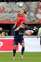 (L-R), *Jonas Svensson* of AZ Alkmaar, *Justin Kluivert* of Ajax,