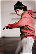 Young students at the HipHop2 (quadrate) School in Arnhem in the Netherlands. At the Hip Hop school youngsters from 10 to 25 can take workshops in rap, hip hop, breakdance and DJ Spinning...In Arnhem is sinds januari 2006 een HipHopschool gevestigd. Op deze school kunnen jongeren van tussen de 10 en 25 jaar workshops volgen in Rap, R&B zang, Breakdance, HipHop dance en DJ Spinning. Dit iniatief is tot stand gekomen door een samenwerking van Stichting Interart en de Arnhemse Rapgroep 'Andere Gekte'.  Arnhem, THE NETHERLANDS - 19-04-2006: