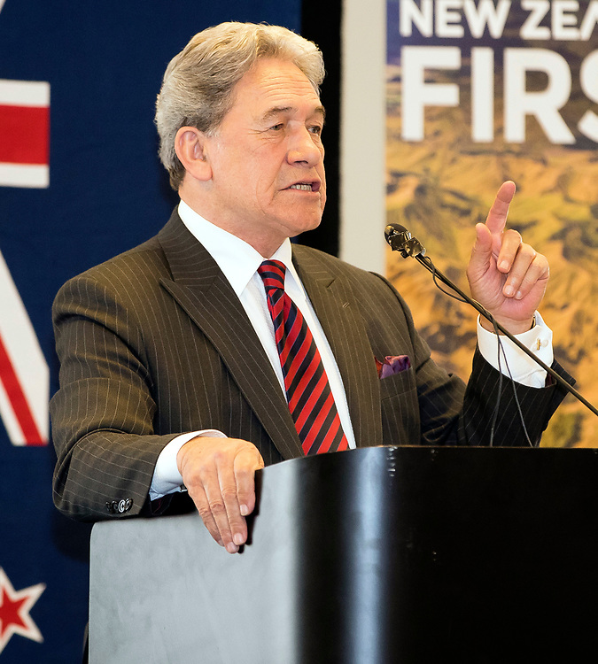 New Zealand First leader, Winston Peters, addresses the audience at a public meeting at the Dunedin Centre, Dunedin, New Zealand, Sept. 14 2017.  Credit:SNPA / Adam Binns ** NO ARCHIVING**