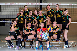 26-10-2017 NED: Teamfoto Prima Donna Kaas vrouwen, Huizen<br /> In de PDK arena van Huizen werden de vrouwen van Elroy Bezemer op de foto gezet. Lyanne Spittje #1 of PDK Huizen, Yara van Keeken #2 of PDK Huizen, Sanne Berculo #4 of PDK Huizen, Lorraine Kyulu #5 of PDK Huizen, Kirsten Sparnaay #6 of PDK Huizen, Mable Hengeveld #7 of PDK Huizen, Lizzy Koole #8 of PDK Huizen, Bianca de Kock #9 of PDK Huizen, Nikki van Herk #10 of PDK Huizen, Lisanne Scholte #11 of PDK Huizen, Eva Hilhorst #12 of PDK Huizen, Jessica van Schaik #13 of PDK Huizen
