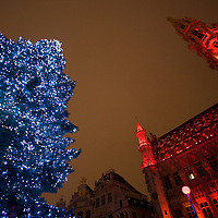 Christmas Tree in the center of the Grand Place, as the Town Hall is dressed up for the evening Christmas light and sound show.