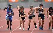 Apr 19, 2019; Torrance, CA, USA; Nader Ali (Crawford), Anthony Grover (JSerra), Caleb Niednagel (La Costa), Isaiah Seldman (West Ranch) and Andrew Martinez (Ayala) jostle for position at the start of the boys mile during the 61st Mt. San Antonio College Relays at El Camino College.