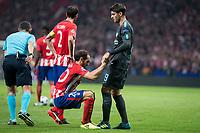 Atletico de Madrid's Juanfran Torres and Chelsea's Alvaro Morata during UEFA Champions League match between Atletico de Madrid and Chelsea at Wanda Metropolitano in Madrid, Spain September 27, 2017. (ALTERPHOTOS/Borja B.Hojas)