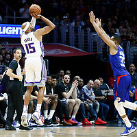 13 January 2018: Sacramento Kings guard Vince Carter (15) takes a jump shot over LA Clippers forward Wesley Johnson (33) during the LA Clippers 126-105 victory over the Sacramento Kings, at the Staples Center, Los Angeles, California, USA.