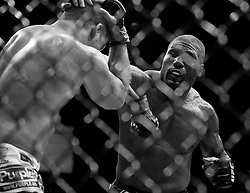 "May 28, 2011; Las Vegas, NV; USA; Quinton ""Rampage"" Jackson (black trunks) and Matt ""The Hammer"" Hamill (white trunks) during their bout at UFC 130 at the MGM Grand Garden Arena."