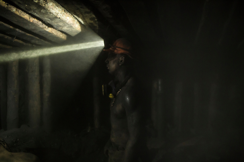 A miner works at the coal face 1300 meters underground at the Shcheglovskaya Coal Mine on Friday, March 25, 2016 in Makiivka, Ukraine.