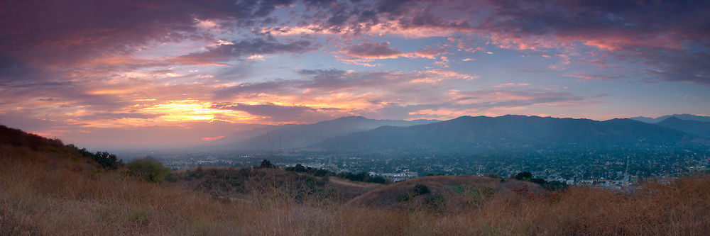 San Gabriel Valley Sunset Panoramic, Glendora, California