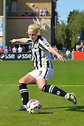Notts County Ladies defender Alex Greenwood clears the ball during the FA Women's Super League match between Chelsea Ladies FC and Notts County Ladies FC at Staines Town FC, Staines, United Kingdom on 6 September 2015. Photo by Mark Davies.
