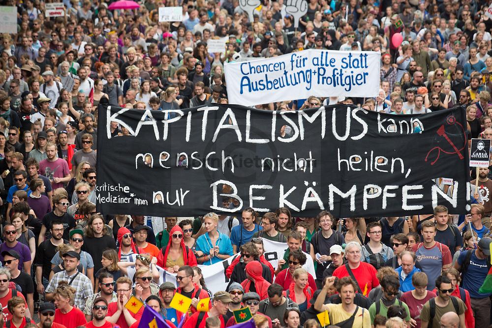 Hamburg, Germany - 08.07.2017<br /> <br /> No G20 mass demonstration in Hamburg. Tens of thousands people protest under the slogan &quot;Solidarity without borders instead of G20&rdquo; peaceful against the G20 summit.<br /> <br /> No G20 Gro&szlig;demonstration in Hamburg. Zehntausende Menschen protestieren unter dem Motto &quot;Solidarity without borders instead of G20&quot; friedlich gegen das G20 Gipfeltreffen.<br /> <br /> Photo: Bjoern Kietzmann