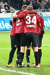 15.12.2011, AWD Arena, Hannover, GER, UEFA Europa League, GER, UEFA EL, Gruppe B, Hannover 96 (GER) vs FC Vorskla Poltava (UKR), im Bild Team Hannover 96 beim Torjubel zum 3:1 // during the Europa Leaque football match Hannover 96 (GER) vs FC Vorskla Poltava (UKR), group b, at AWD Arena,  Hannover, GER, on 2011/12/15. EXPA Pictures © 2011, PhotoCredit: EXPA/ nph/ SielskiSielski..***** ATTENTION - OUT OF GER, CRO *****