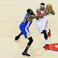 25 May 2015: Golden State Warriors forward Draymond Green (23) defends on Houston Rockets forward Josh Smith (5) during the Houston Rockets 128-115 victory over the Golden State Warriors, in game 4 of the Western Conference finals, at the Toyota Center, Houston, Texas, USA.