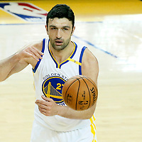 04 June 2017: Golden State Warriors center Zaza Pachulia (27) passes the ball during the Golden State Warriors 132-113 victory over the Cleveland Cavaliers, in game 2 of the 2017 NBA Finals, at the Oracle Arena, Oakland, California, USA.