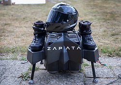 © Licensed to London News Pictures. 04/08/2019. Dover, UK. French inventor Franky Zapata's jetpack and hoverboard stands at St Margarets Bay near Dover after crossing the English Channel on his jet-powered hoverboard. He made the 35km crossing with a refueling stop mid channel to reach the English coast after setting off at 6:15am French time. Photo credit: Peter Macdiarmid/LNP