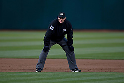 OAKLAND, CA - MAY 30:  MLB umpire Ed Hickox #15 stands on the field during the first inning between the Oakland Athletics and the New York Yankees at O.co Coliseum on May 30, 2015 in Oakland, California. The New York Yankees defeated the Oakland Athletics 5-3. (Photo by Jason O. Watson/Getty Images) *** Local Caption *** Ed Hickox