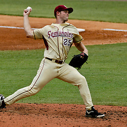 June 05, 2011; Tallahassee, FL, USA; Florida State Seminoles pitcher Mike McGee (25) throw against the Alabama Crimson Tide during the third inning of the Tallahassee regional of the 2011 NCAA baseball tournament at Dick Howser Stadium. Mandatory Credit: Derick E. Hingle