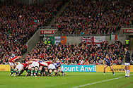 The Lions press the scrum on towards the try line during the tour match of the 2013 British And Irish Lions Australian Tour between RaboDirect Melbourne Rebels vs British And Irish Lions at AAMI Park, Melbourne, Victoria, Australia. 25/06/0213. Photo By Lucas Wroe
