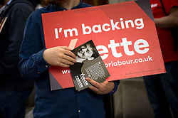©  London News Pictures. 19/07/2015. London, UK. A supporter of Yvette Cooper handing out leaflets before the hustings. Labour leadership candidates Jeremy Corbyn, Yvette Cooper, Liz Kendall and Andy Burnham attend a hustings at the Camden Centre in London. The new leader is due to be announced in September 2015.  Photo credit: Ben Cawthra/LNP