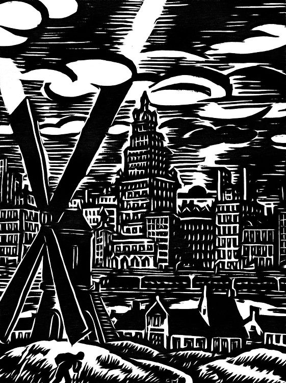 A black / white drawing of the expanding city to the countryside