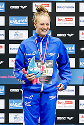 Sarah Barrow of Great Britain celebrates on the podium having won a Gold Medl in the Womens 10m Platform Final - Photo mandatory by-line: Rogan Thomson/JMP - 07966 386802 - 22/08/2014 - SPORT - DIVING - Berlin, Germany - SSE im Europa-Sportpark - 32nd LEN European Swimming Championships 2014 - Day 10.