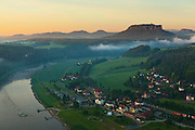 Overlook over the saxony switzerland at sunrise, Saxony, Germany