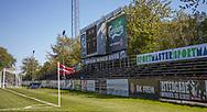 FODBOLD: Tribune bag målet før kampen i 2. Division mellem BK Frem og Slagelse B&I den 11. maj 2019 i Valby Idrætspark. Foto: Claus Birch