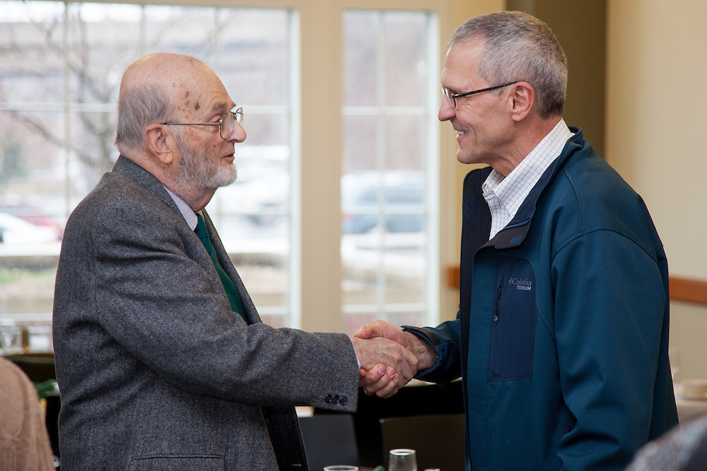 The newly established Nicholas Dinos Professorship was awarded to Professor Darin Ridgway on Saturday March 29, 2014. Alumni and collegues of retired professor Dinos returned to Ohio University to honor the years of service he has  provided to the students of Ohio University.  Photo by Ohio University / Jonathan Adams