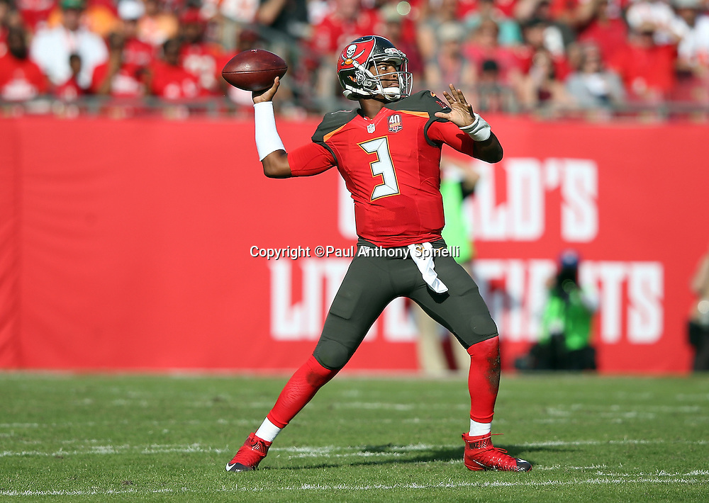Tampa Bay Buccaneers quarterback Jameis Winston (3) throws a third quarter pass during the 2015 week 14 regular season NFL football game against the New Orleans Saints on Sunday, Dec. 13, 2015 in Tampa, Fla. The Saints won the game 24-17. (©Paul Anthony Spinelli)