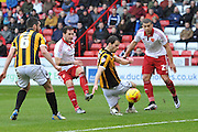 Sheffield United forward Billy Sharp takes a shot at goal during the Sky Bet League 1 match between Sheffield Utd and Port Vale at Bramall Lane, Sheffield, England on 20 February 2016. Photo by Ian Lyall.