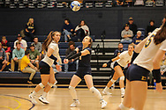 October 31, 2018 - Johnson City, Tennessee - Brooks Gym: ETSU defensive specialist Hailey Aguilar (1), ETSU libero Marija Popovic (9)<br /> <br /> Image Credit: Dakota Hamilton/ETSU