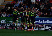 Middlesbrough celebrate during the Sky Bet Championship match between Rotherham United and Middlesbrough at the New York Stadium, Rotherham, England on 1 November 2014.