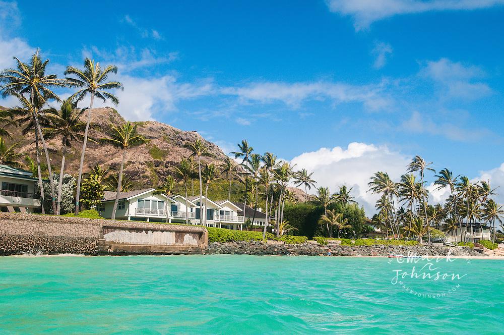 Seafront houses and seawalls, Lanikai Beach, Kailua Bay, Oahu, Hawaii, USA