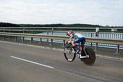 Gabriella Pilote Fortin (Cervélo Bigla) heads out across the water at Thüringen Rundfarht 2016 - Stage 4 a 19km time trial starting and finishing in Zeulenroda Triebes, Germany on 18th July 2016.