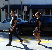 """**EXCLUSIVE**.Calving Klein and Kelly Klein """"jay walking"""" on Meridian and Lincoln Road.Miami Beach, FL, USA.Thursday, December 06, 2007.Photo By Celebrityvibe.com.To license this image please call (212) 410 5354; or.Email: celebrityvibe@gmail.com ;.website: www.celebrityvibe.com"""