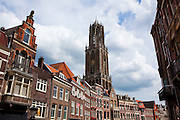 A view of buildings on Vismarkt and the Dom Tower, Utrecht, Netherlands
