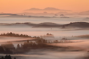 Sunrise view across Sonoma County to distant Mt. Diablo, sixty miles to the east.