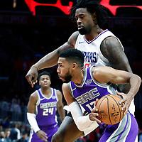 12 October 2017: Sacramento Kings guard Garrett Temple (17) drives past LA Clippers center DeAndre Jordan (6) during the LA Clippers 104-87 victory over the Sacramento Kings, at the Staples Center, Los Angeles, California, USA.