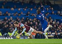 Football - 2019 / 2020 Premier League - Chelsea vs. Aston Villa<br /> <br /> Jack Grealish (Aston Villa)  is fouled again by Ngolo Kante (Chelsea FC) at Stamford Bridge <br /> <br /> COLORSPORT/DANIEL BEARHAM