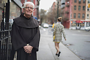 New York, NY, April 2, 2016. Franciscan Brother Paschal DeMattea, O.F.M. standS outside St. Anthony of Padua Priory in New York City. 04/02/2016. Photo by George Goss/NYCity News Service.